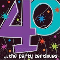 Servietten zum 40. Geburtstag 'Party Continues' 16er-Pack - 1