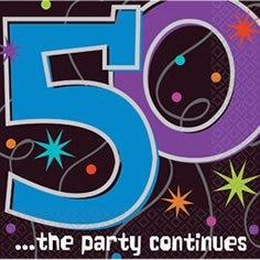 Servietten zum 50. Geburtstag 'Party Continues' 16er-Pack - 1