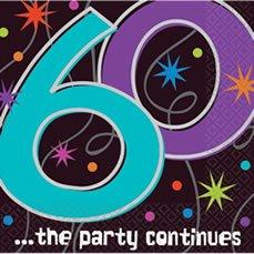 Servietten zum 60. Geburtstag 'Party Continues' 16er-Pack - 1