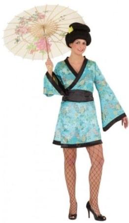 Sexy Kimono türkis : Robe und Gürtel - 1