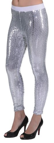 silberne Paillettenleggings - 1