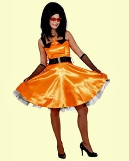 Sixties Kleid orange mit Petticoat - 1