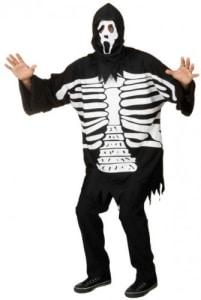 Skelett-Kostüm, Skelett-Verkleidung mit Oberteil und Haube, Einheitsgröße - 1