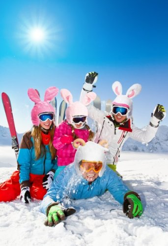 Skihelm-Verkleidung: Skihelmcover, Hase, pink, Skihelmüberzug Snowboardhelm Überzug - 2