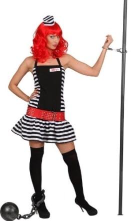 Sträflingsfrau-Kostüm: Kleid und Mini-Kappe, schwarz-weiß, verschiedene Größen - 1