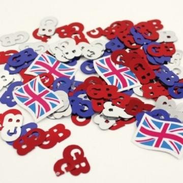 Streu-Deko: Konfetti, Großbritannien-Flagge und GB-Zeichen, 14 g - 1