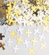Streukonfetti: Kreuze, silber und gold, Metallfolie, 14 g - 1