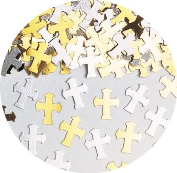Streukonfetti: Kreuze, silber und gold, Metallfolie, 14 g - 2