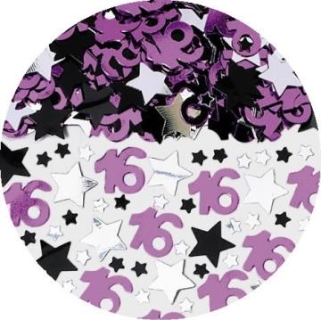 Streukonfetti Sweet 16: Zahl 16 und Sterne, 71 g - 2