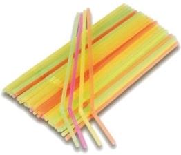 Strohhalme: Flex-Trinkhalme, bunt gemischt, 24 cm, 100er-Pack - 1