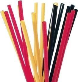Strohhalme: schwarz-rot-gelb, flexibel, 24 cm, 100 Stück - 1