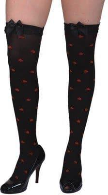 Strümpfe: Überkniestrümpfe, schwarz mit roten Herzen, Einheitsgröße - 1