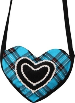 Tasche: Herz-Tasche, Schottenmuster, türkis-schwarz - 1