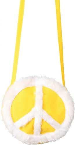 Tasche: Peace-Tasche, gelb mit weißem Friedenssymbol - 1