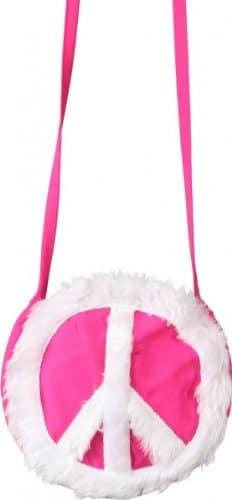 Tasche: Peace-Tasche, pink mit weißem Friedenssymbol - 1