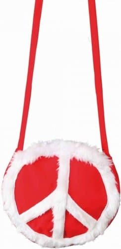 Tasche: Peace-Tasche, rot mit weißem Friedenssymbol - 1