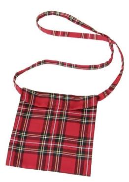 Tasche: Schottentasche, mit Klettverschluss, rot - 1
