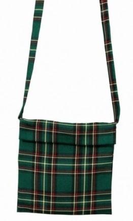 Tasche: Schottentasche zum Umhängen, Klettverschluss, grün - 1