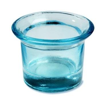 Teelichtglas: Kerzenglas, türkis, 4,5 cm Höhe - 1