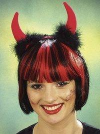 Teufel: Haarreif mit roten Hörnern und Maraboufedern - 1