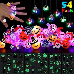 ThinkMax Kinder Halloween LED Ringe, Halsketten und Halloween Tattoos 1