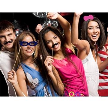 TinkSky 60 Fotorequisiten & Fotoaccessoires für witzige & lustige Bilder, egal ob Hochzeit, Geburtstag, Abschlussfeier oder jede andere Party [Tabakspfeife, Kronen, Krawatten, Hüte, Fliegen, Bärte, Kussmünder, Brillen, Monokel] Photo Booth -