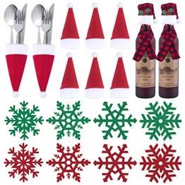 Tischdeko Weihnachten Bestecktasche Schneeflocken Untersetzer 1
