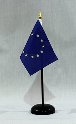 Tischflagge Europa Europaflagge 15x10 cm (S) mit Tischflaggenständer aus Polyester schwarz, extrem standfest - 1