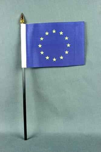 Tischflagge Europa Europaflagge 15x10 cm (S) mit Tischflaggenständer aus Polyester schwarz, extrem standfest - 2