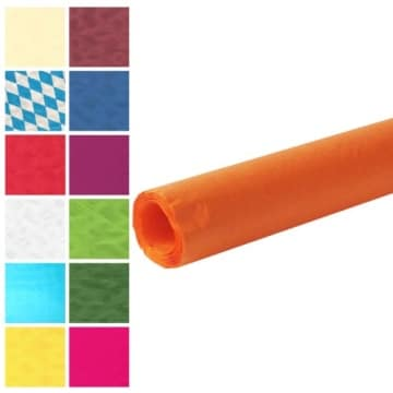 Tischtuch: Damasttischtuchrolle aus Papier, orange, 8 x 1 m - 1
