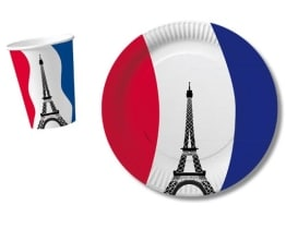 Trinkbecher: Pappbecher, Frankreich-Design, 200 ml, 10er-Pack - 1