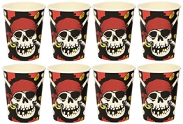 Trinkbecher: Pappbecher, Jolly Roger, 250 ml, 8er-Pack - 1