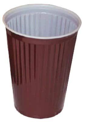 Trinkbecher: Thermobecher, weiß/braun, Kunststoff, 0,18 l, 100er-Pack - 1