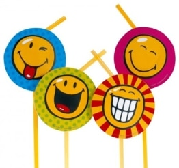 Trinkhalme SMILEY, 8er-Pack Dekoration Smileys Partyspass - 1
