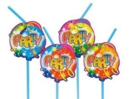 """Trinkhalme: Strohhalme, """"Ballon-Party"""", 24 cm, 10 Stück - 1"""