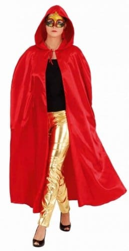 Umhang: Umhang mit Kapuze, Satin, rot, Einheitsgröße - 1