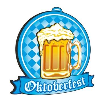 """Wanddeko: Schild """"Oktoberfest"""" mit Bierkrug, 3D, 48 x 48 cm - 1"""