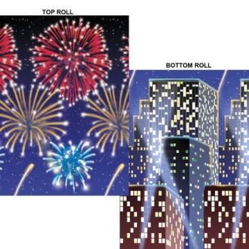 Wandtattoo: Wanddekoration, Silvester-Feuerwerk, bedruckte Folie, 120 cm x 660 cm, 2 Rollen - 1