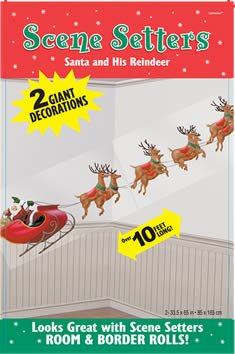 Wandtattoo: Wanddekoration, Weihnachtsmann mit Rentierschlitten, bedruckte Folie, 85 cm x 165 cm - 1