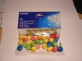 Wattebälle, mit Blasrohr, verschiedene Farben, 30 Stück - 1