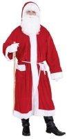 Weihnachtsmann: Mantel mit Kapuze, rot, weiß abgesetzt, Einheitsgröße - 1