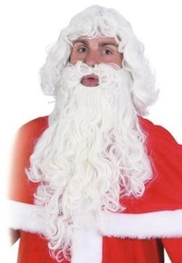Weihnachtsmann-Set: Haare und Bart, weiß, leicht gelockt - 1