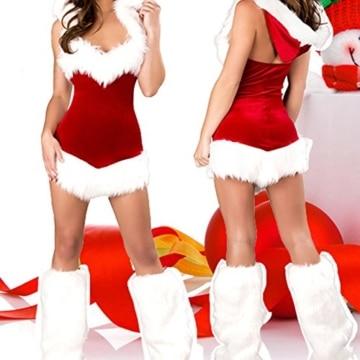 West See Damen Weihnachtskostüm mit Kapuze Weihnachtsfrau Dessous Reizvolle Weihnachtsmann Santa für die Weihnachtsfeier oder Party (Rot 2) -