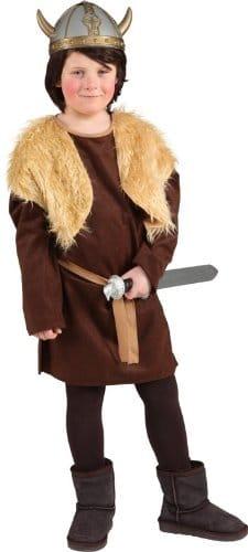 Wikinger-Kostüm: Oberteil, braun, Plüsch, Kindergröße - 1