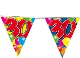 Wimpelkette, 15 Wimpel, bunter Ballondruck, 30. Geburtstag, 10 m - 1