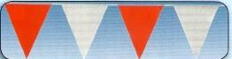 Wimpelkette: 30 Wimpel in Weiß und Rot, 10 m Länge - 1