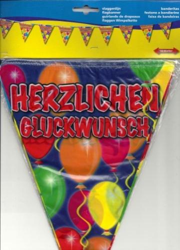 """Wimpelkette, Serie Balloons, Schriftzug """"Herzlichen Glückwunsch"""", 15 Wimpel, 10 m - 1"""