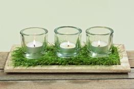 Windlicht Set Salo 5 tlg., Holztablett Glas, Teelichhalter, Geschenk, Osterdekoration Ostern - 1