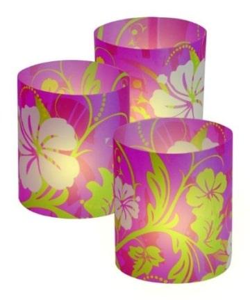 Windlichter: Papier-Windlichter, Sommer-Blume, 10 cm, 3er-Pack - 1