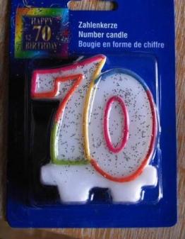 Zahlenkerze 70. Geburtstag, Kerze siebzigster, siebzig - 1